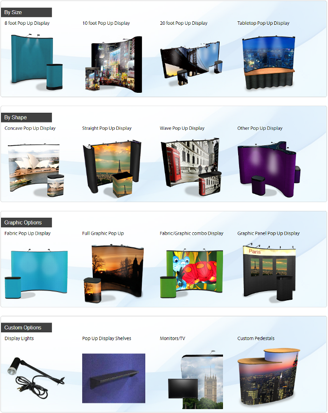 Sortable pop up displays